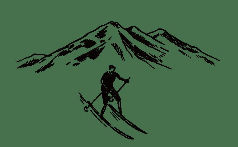 雪山とスキーをする人のイラスト